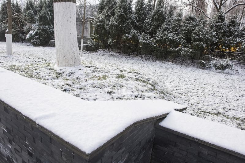 Мавзолей Сунь Ятсен после снежностей в Mafang стоковые изображения rf