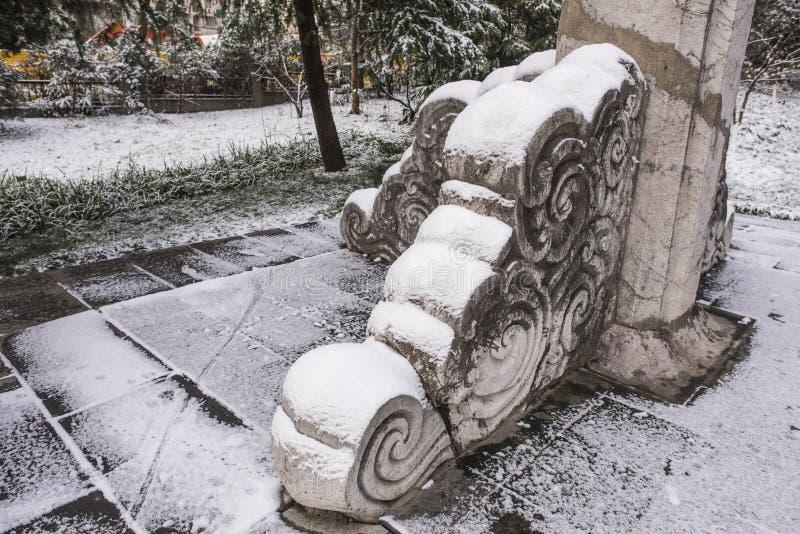 Мавзолей Сунь Ятсен после снежностей в Mafang стоковая фотография