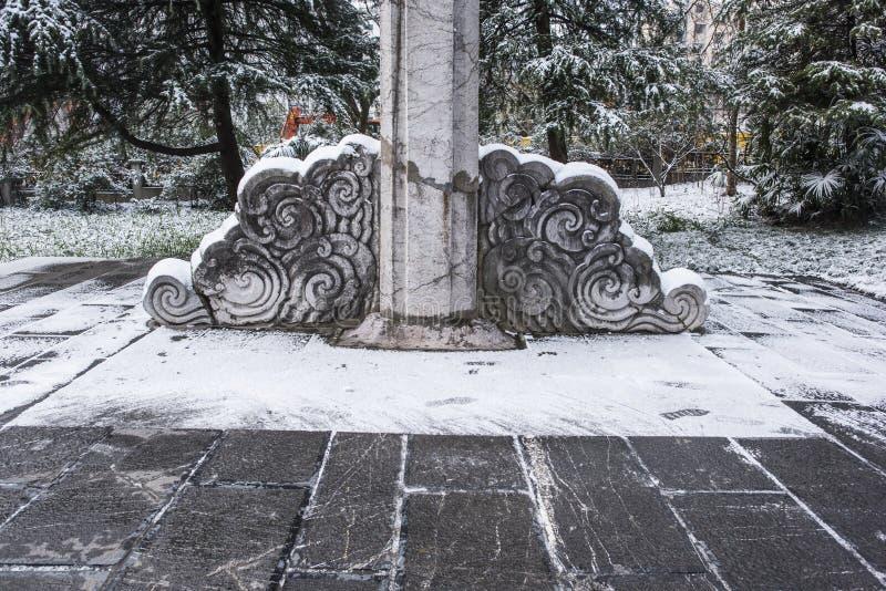 Мавзолей Сунь Ятсен после снежностей в Mafang стоковое фото rf