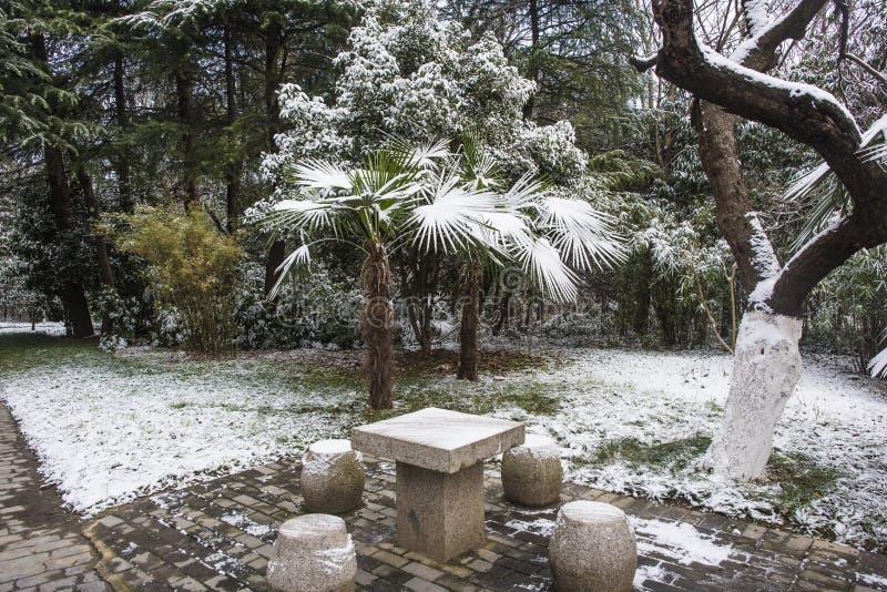 Мавзолей Сунь Ятсен после снежностей в Mafang стоковое изображение