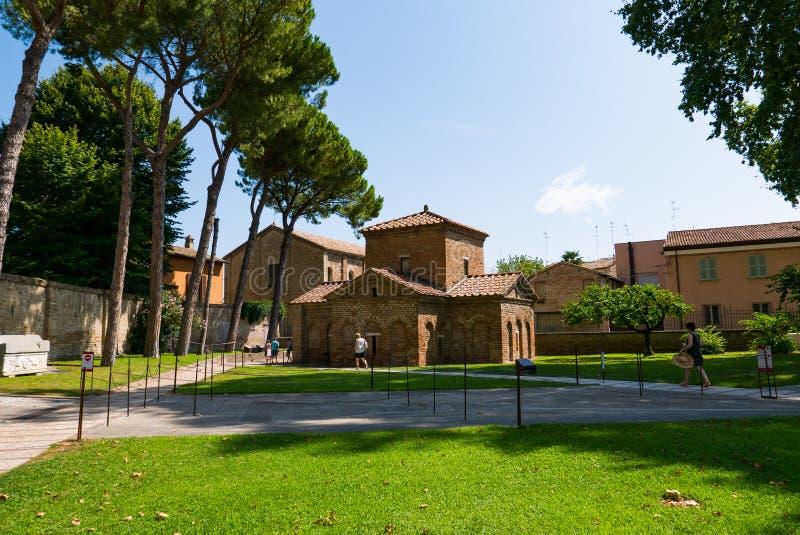 Мавзолей Galla Placidia, часовни украшенной с красочными мозаиками в Равенне Оно было обозначено как мир ЮНЕСКО стоковая фотография