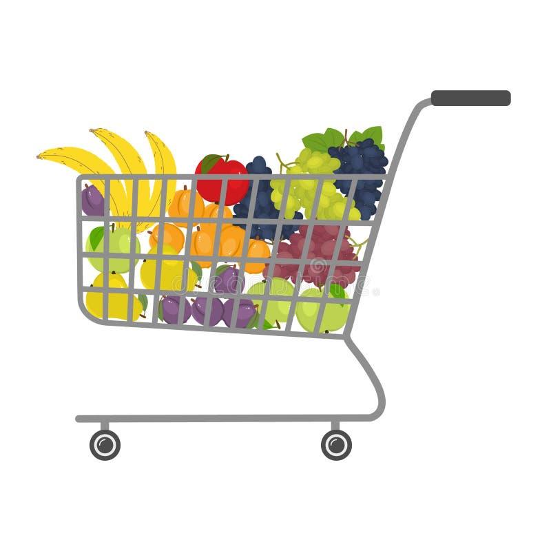 Магазинная тележкаа в супермаркете вполне плодоовощей иллюстрация вектора