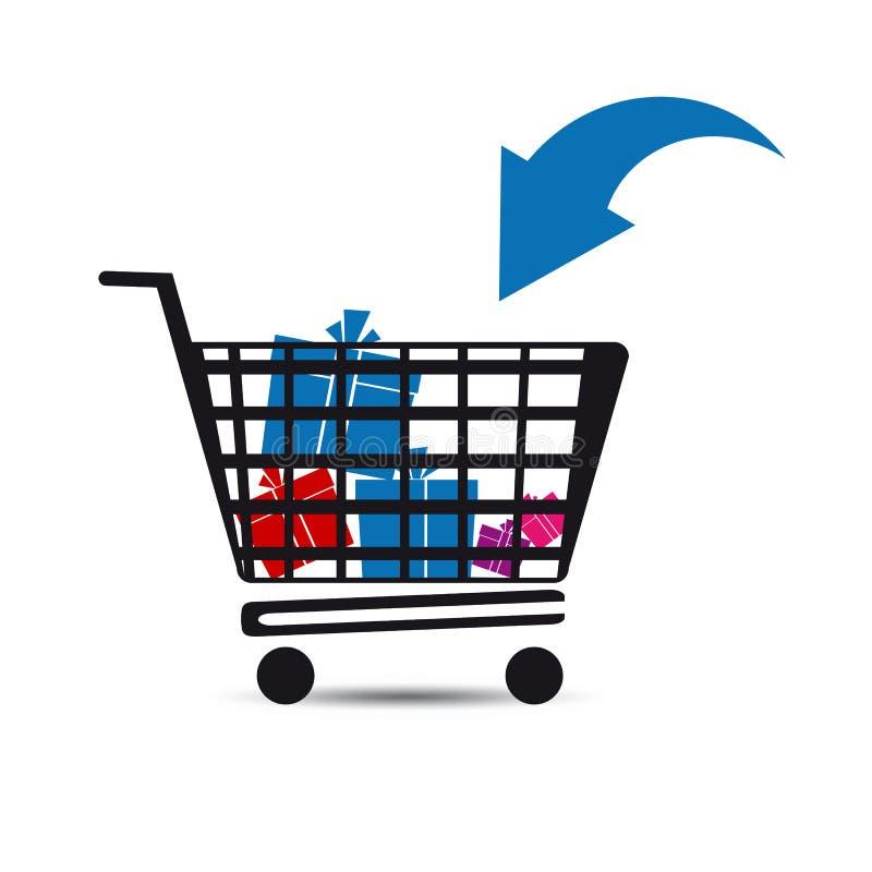 Магазинная тележкаа с подарками - концепция магазина рынка иллюстрация вектора