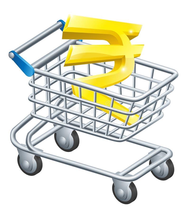 Магазинная тележкаа валюты рупии иллюстрация вектора