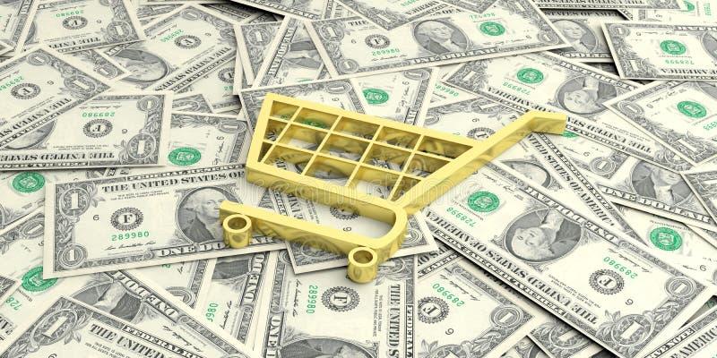 магазинная тележкаа перевода 3d на банкнотах одного доллара иллюстрация штока