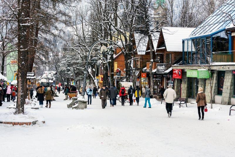 Магазины вдоль улицы Krupowki стоковые изображения rf