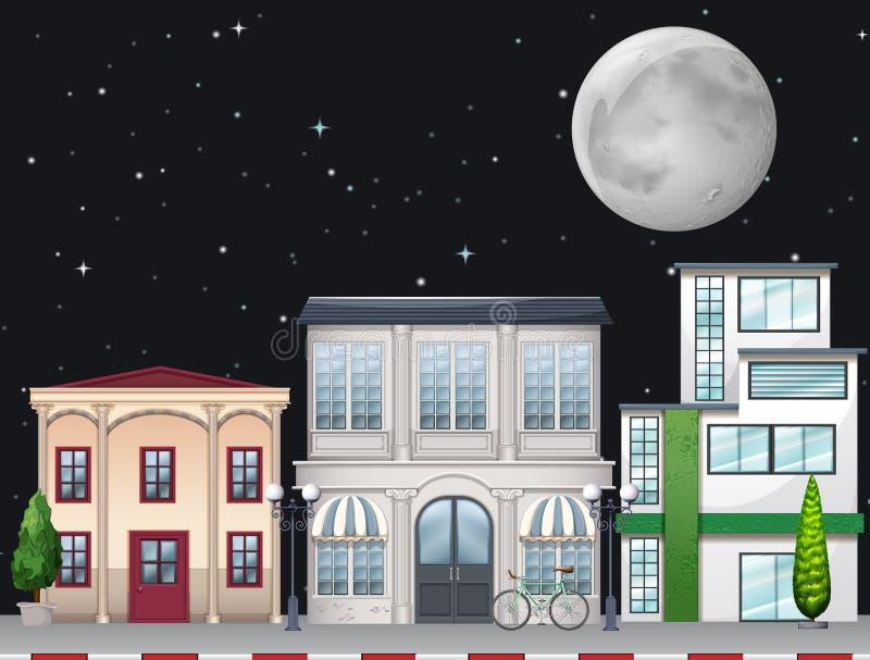 Магазины вдоль улицы на ноче иллюстрация вектора