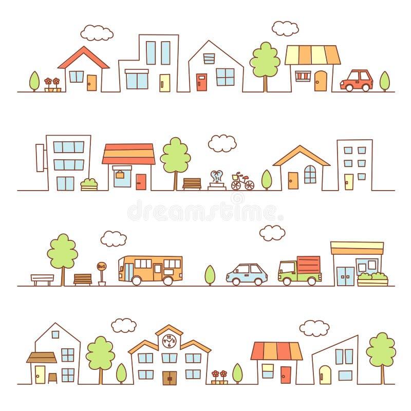 Магазины и дома на улице иллюстрация вектора