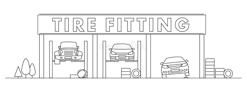 Магазин автошины или приспосабливая линия иллюстрация вектора с автомобилями на подъеме иллюстрация вектора