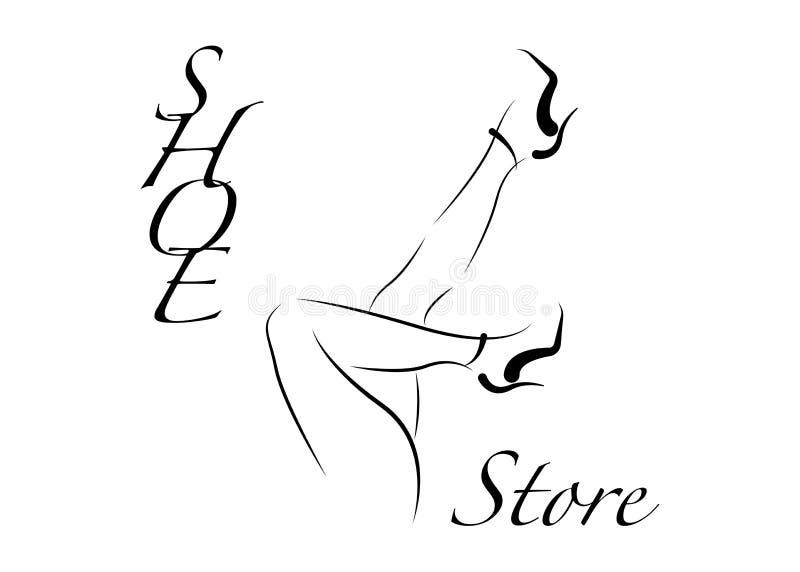 Магазин ботинок логотипа, магазин, собрание моды, ярлык бутика Дизайн логотипа компании Черный ботинок высокой пятки с текстом, р иллюстрация штока