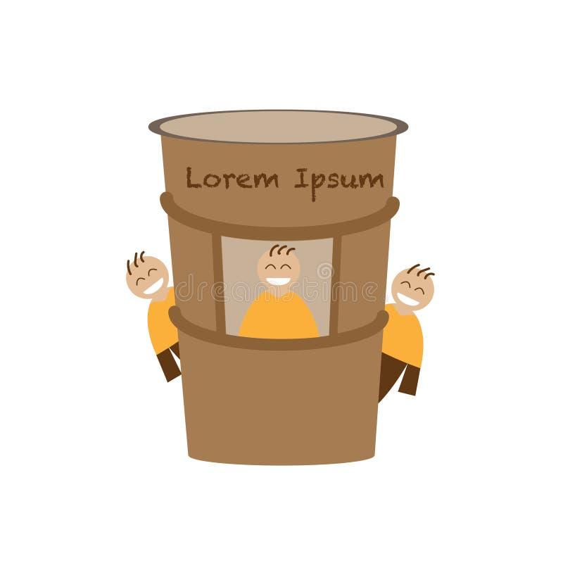 магазин бумажного стаканчика компании кофе с командой иллюстрация штока