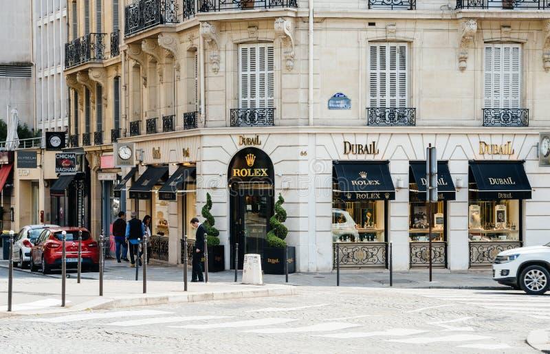 Магазин вахты Rolex роскошный в Париже стоковые изображения rf