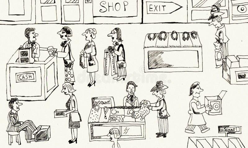 магазин внутренности одежд бесплатная иллюстрация