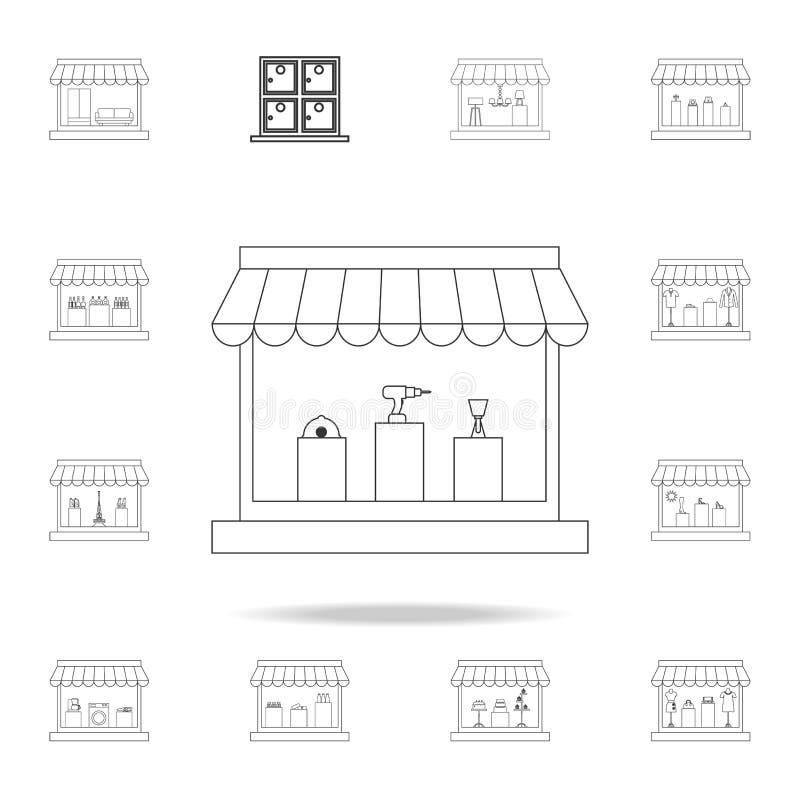 магазин для продажи конструкции оборудует значок Детальный комплект магазинов и значков гипермаркета Наградной качественный графи иллюстрация штока