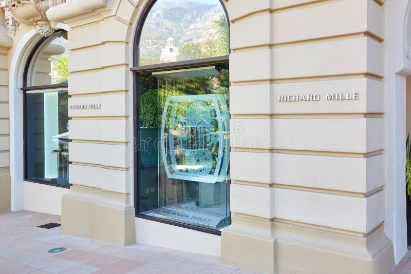 Магазин дозора Ричард Mille роскошный в Монте-Карло, Монако стоковое фото rf