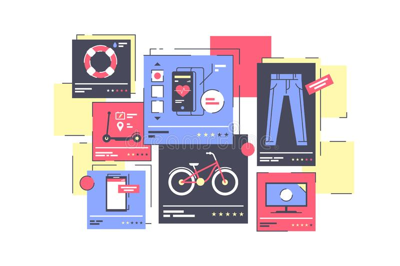Магазин изолированный квартирой онлайн с одеждами и прибором иллюстрация вектора