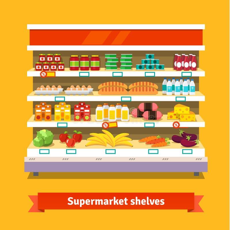 Магазин, интерьер супермаркета еда здоровая иллюстрация вектора
