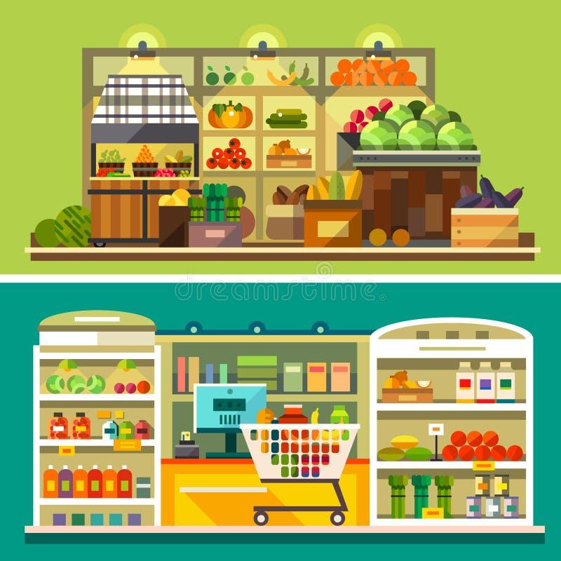 Магазин, интерьер супермаркета иллюстрация вектора