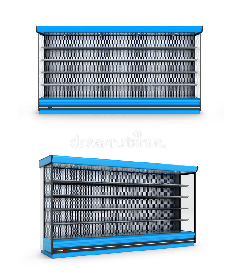 Магазин или полка замораживателя на белой предпосылке иллюстрация штока