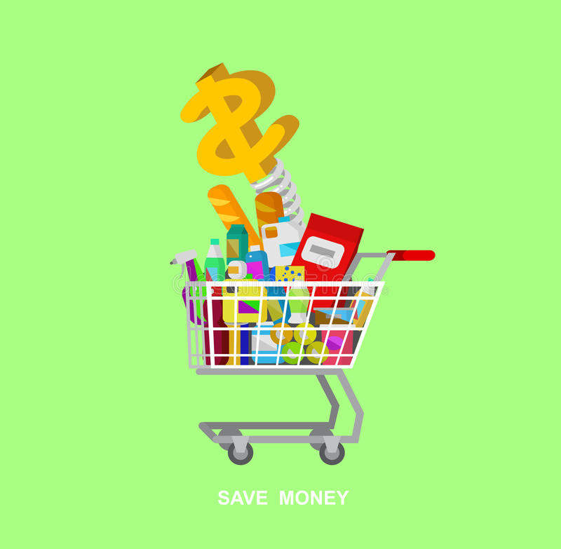 Магазин, иллюстрации вектора супермаркета плоские иллюстрация штока