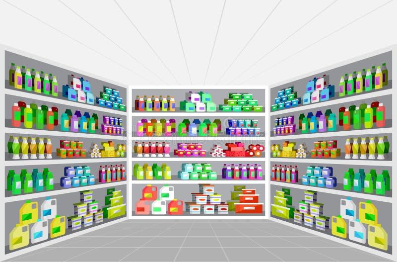Магазин, иллюстрации вектора супермаркета плоские иллюстрация вектора