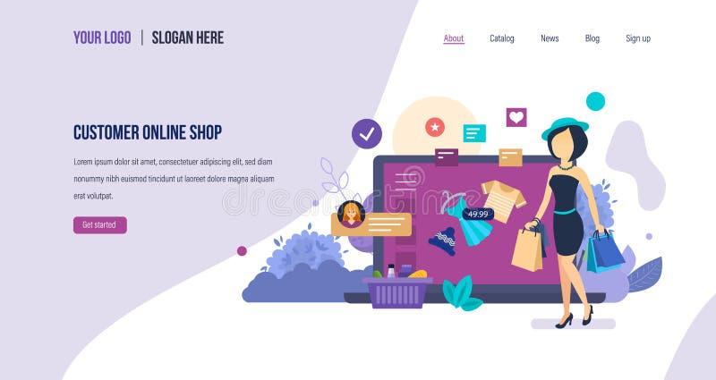 Магазин клиента онлайн продажи, рынок, электронный онлайн магазин, торговая электронная коммерция бесплатная иллюстрация