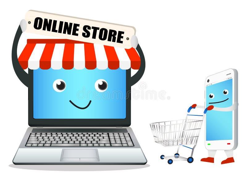 Магазин компьтер-книжки онлайн с умными телефоном и магазинной тележкаой иллюстрация вектора
