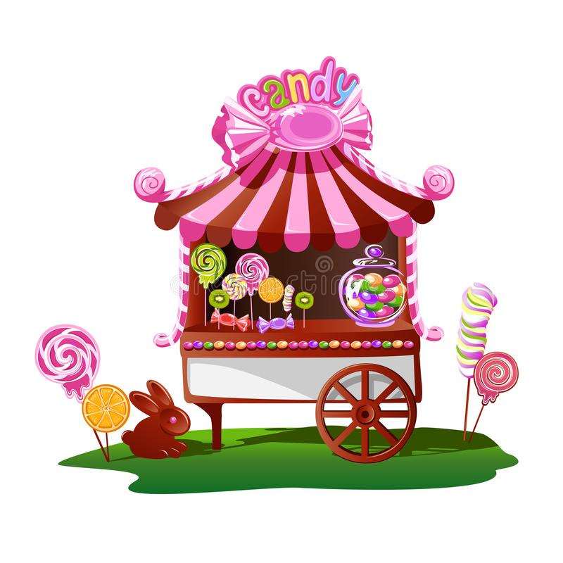 Магазин конфеты с жизнерадостным оформлением бесплатная иллюстрация
