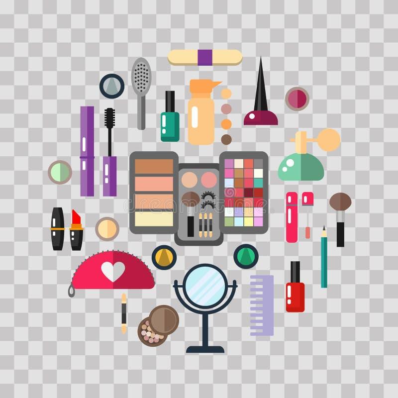 Магазин красоты с косметикой возражает тушь, лоск, тени для век, губную помаду, сливк, краснеет, душит Объекты состава вектор иллюстрация вектора