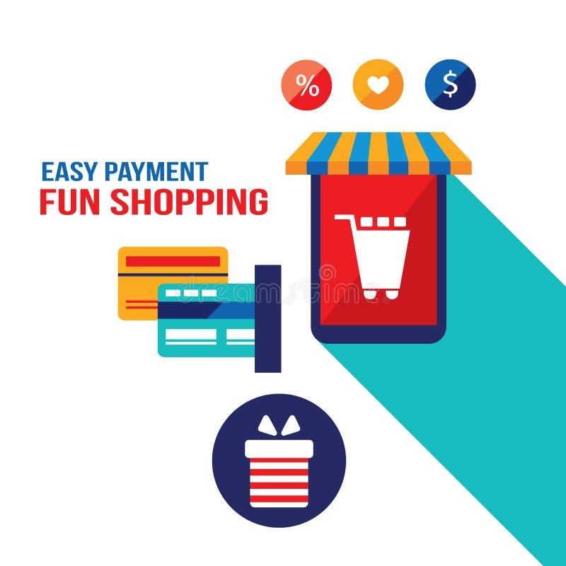 Магазин легкий E - коммерция, онлайн покупки и концепция оплаты карты банка иллюстрация штока