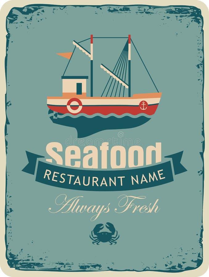 Магазин морепродуктов с рыбацкими лодками иллюстрация штока
