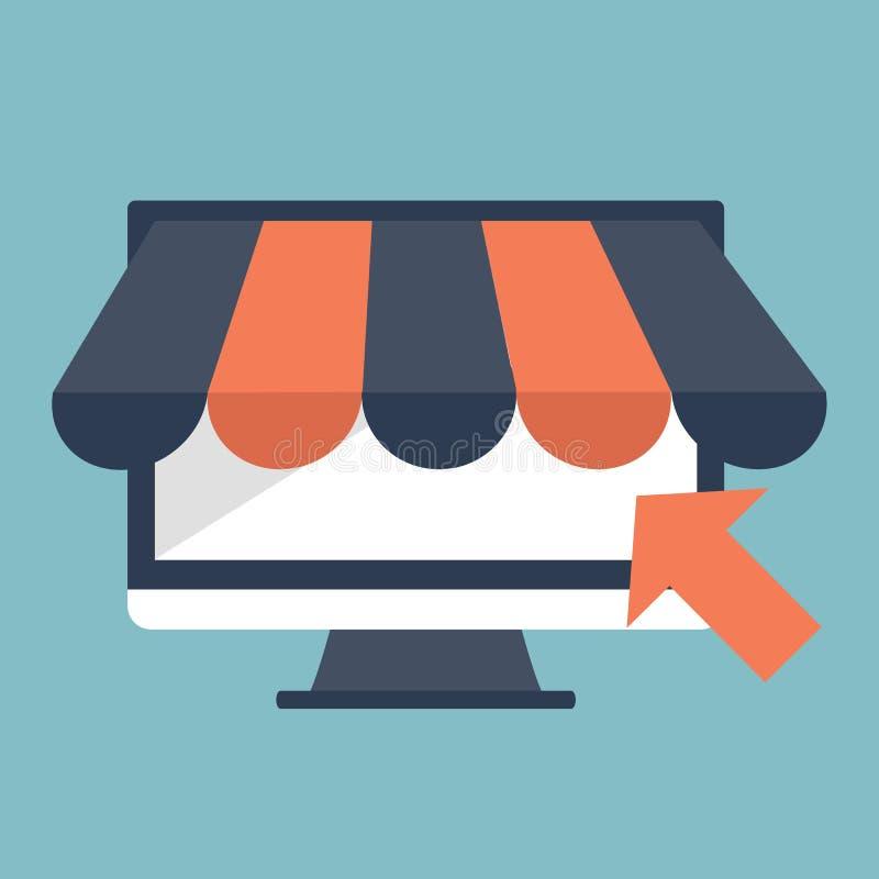 Магазин онлайн, дизайн значка значка дела плоский Значки App, страница сети идей сети, виртуальные покупки иллюстрация штока