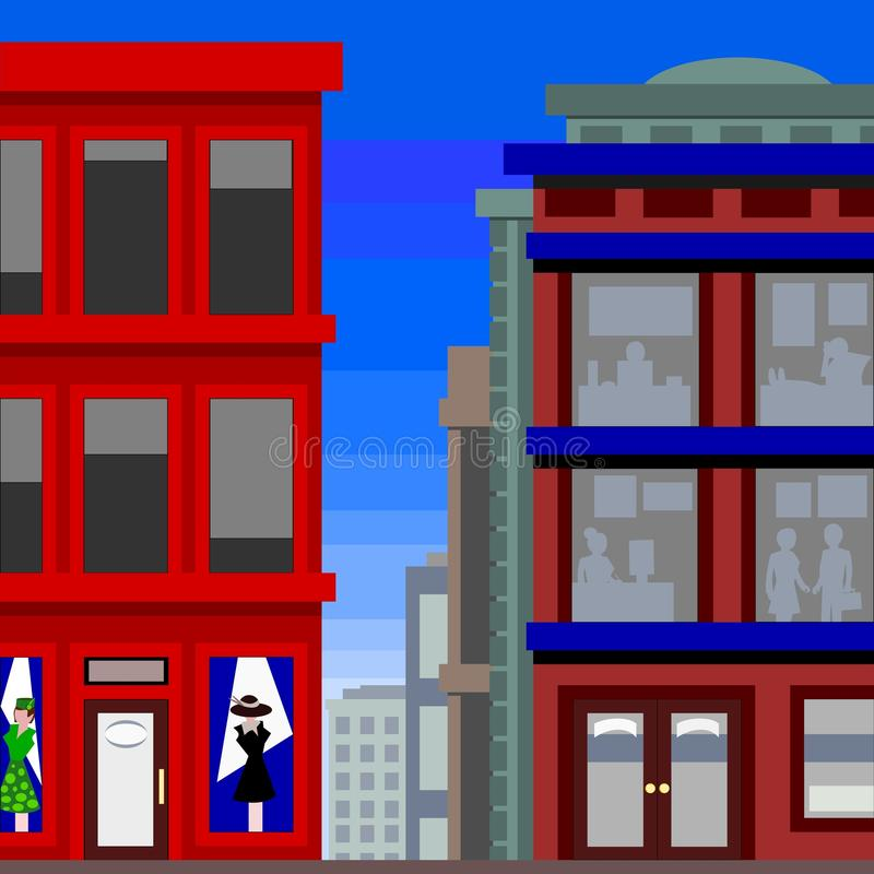 магазин платья зданий высокорослый иллюстрация вектора
