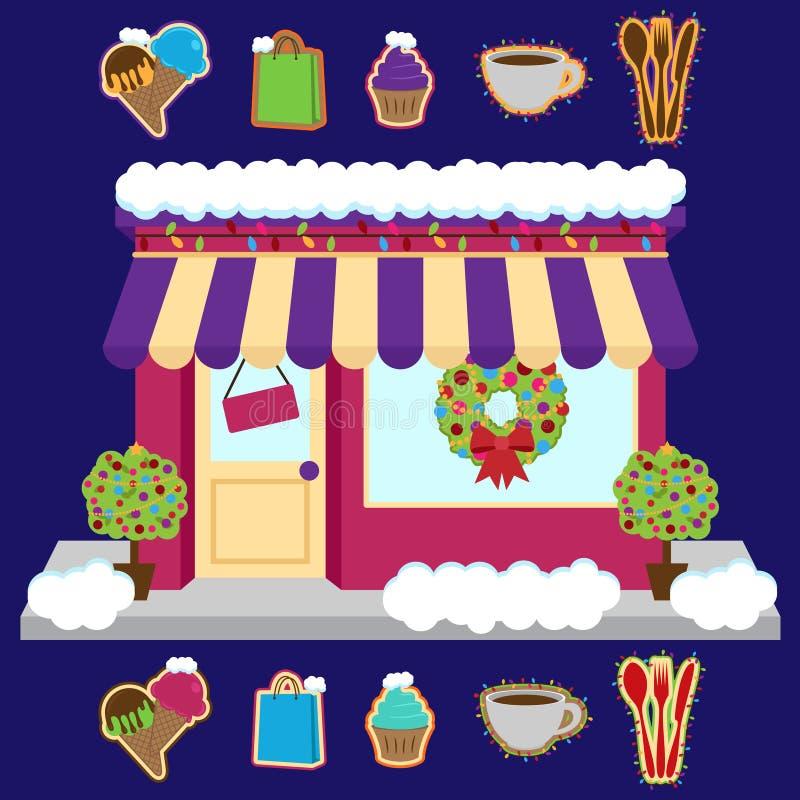 Магазин покрытый снегом или дело вектора украшенные для зимы и рождества иллюстрация штока