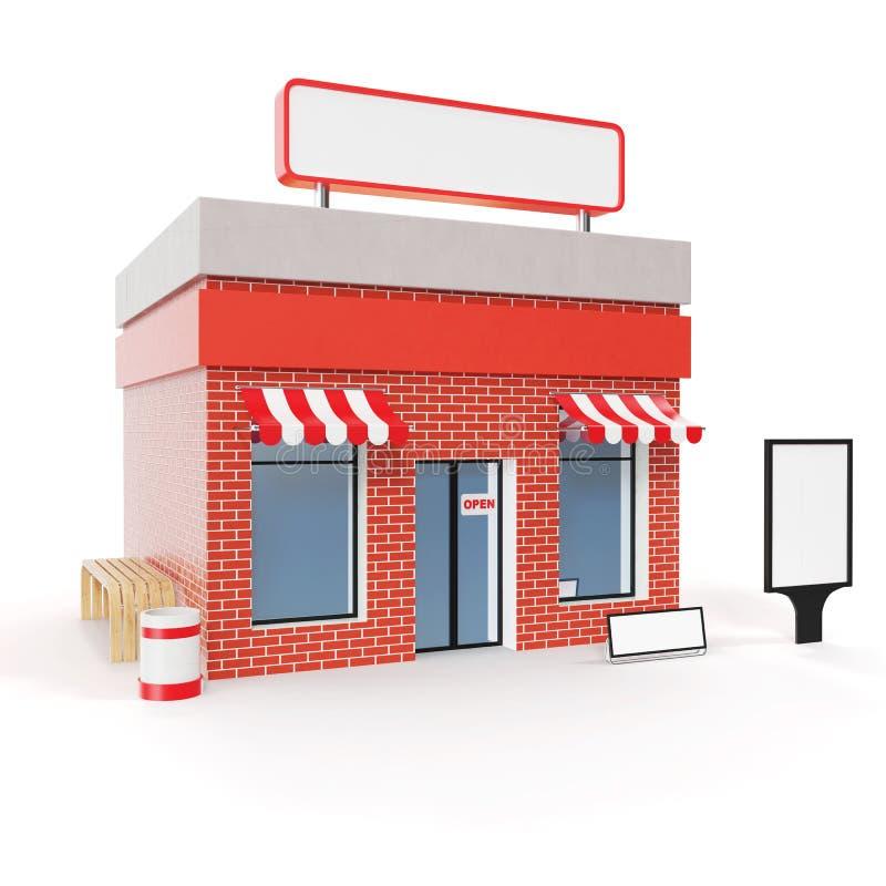 Магазин при доска космоса экземпляра изолированная на белой предпосылке Современные здания магазина, фасады магазина Внешний рыно иллюстрация вектора
