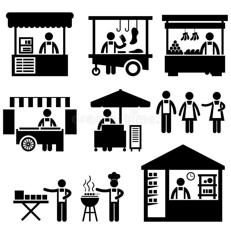 магазин стойла базарной площади коммерческого рынка будочки иллюстрация вектора