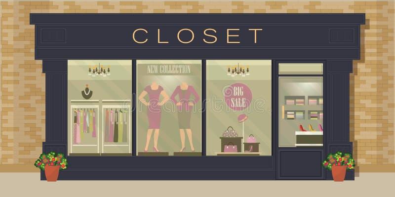 Магазин с продуктами на полках, вид спереди одежды внешний магазина моды, иллюстрации вектора иллюстрация вектора