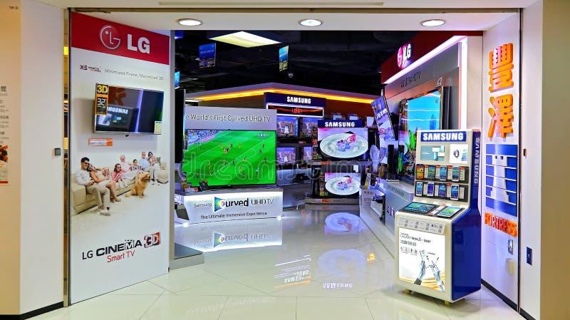 Магазин ТВ Samsung умный стоковые изображения rf
