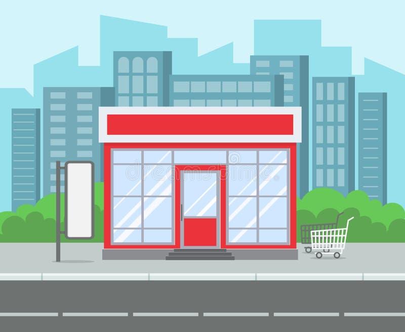 Магазин улицы Улица города ретро супермаркета дома гастронома внешняя Ходя по магазинам розничное здание на векторе мультфильма д иллюстрация вектора