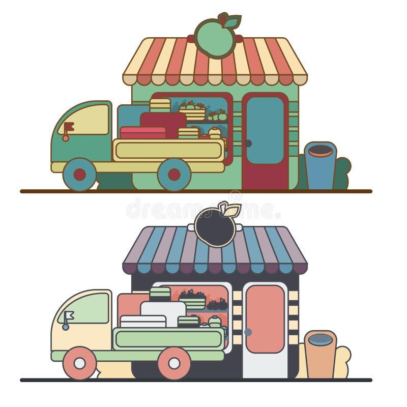 Магазин фермы Местный рынок стойла Продажа овощей иллюстрация вектора
