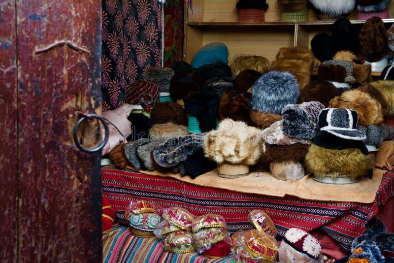 Магазин шляпы в доме Hathpace фольклорном Кашгара стоковое фото
