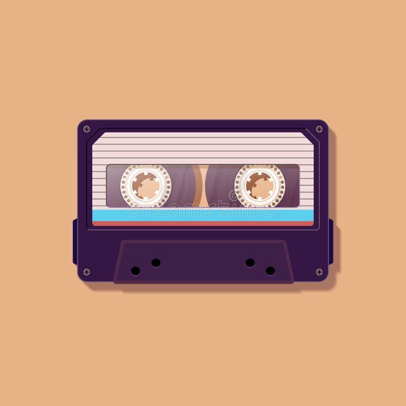 Магнитофонная кассета Винтажная магнитофонная кассета Ностальгия 80 ` s ` s 90 иллюстрация штока
