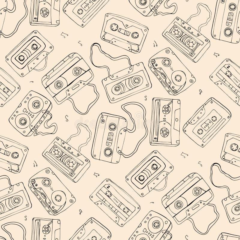 Магнитофонная кассета картина безшовная иллюстрация вектора