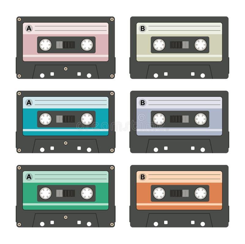 Магнитофонные кассеты вектора иллюстрация вектора