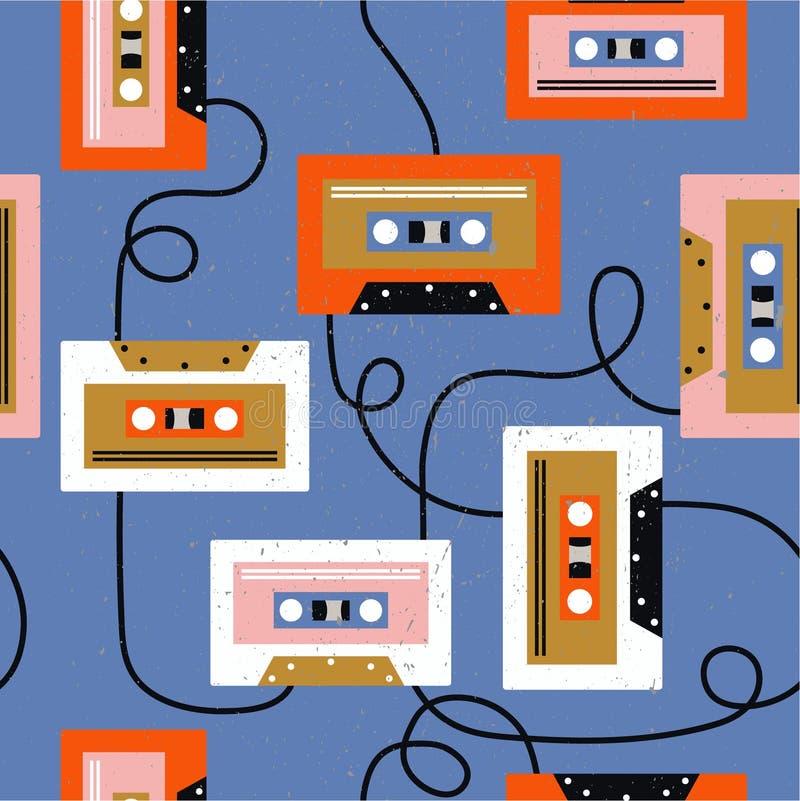 Магнитофонные кассеты, красочная музыкальная безшовная картина Декоративная предпосылка иллюстрация штока