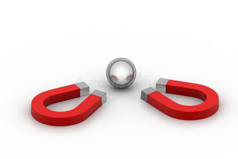 Магнит привлек стальные шарики, концепцию конкуренции иллюстрация вектора