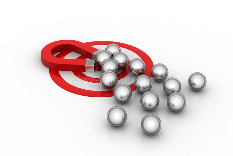 Магнит привлек стальные шарики, концепцию конкуренции иллюстрация штока