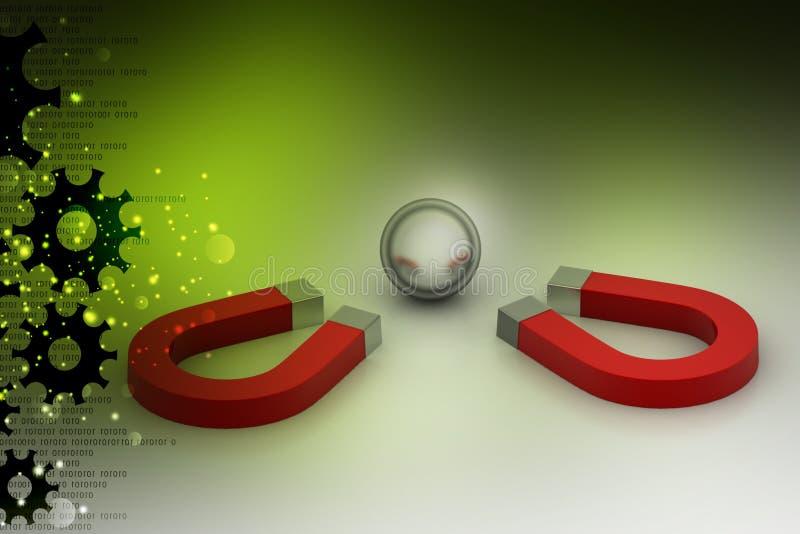 Магнит привлек стальные шарики, концепцию конкуренции бесплатная иллюстрация