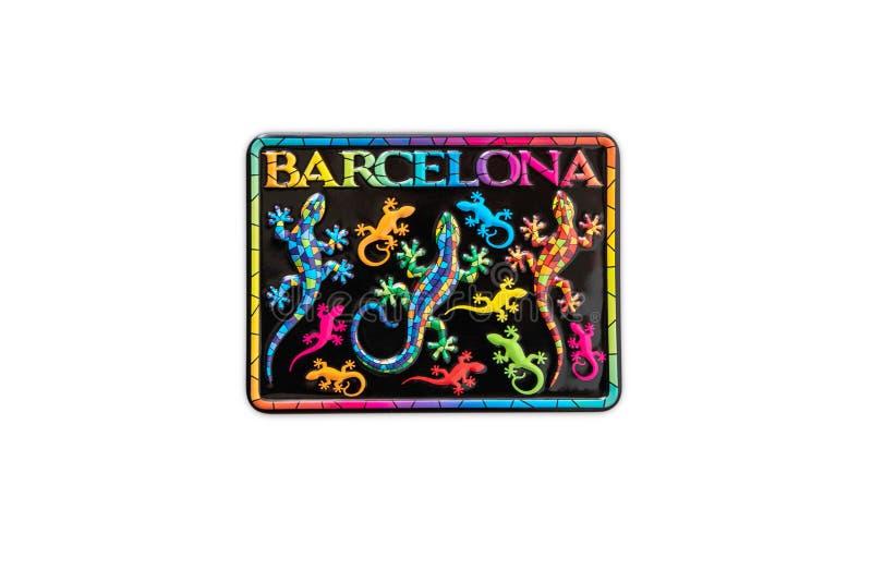 Магнит сувенира от Барселоны, Испании стоковые фото