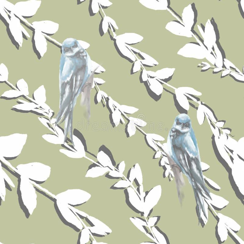 Магнолия акварели и цветки Сакуры с зелеными листьями и картина птицы безшовная на голубой предпосылке иллюстрация вектора